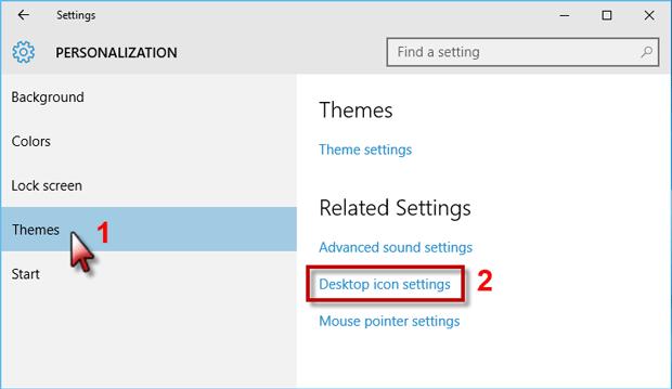 Click Desktop icon settings