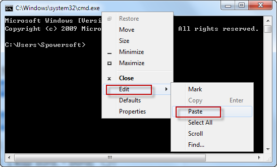 Select Edit and Paste