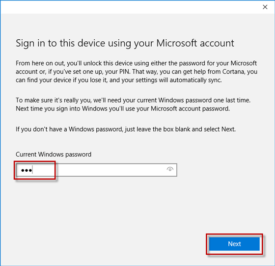 Enter current windows password