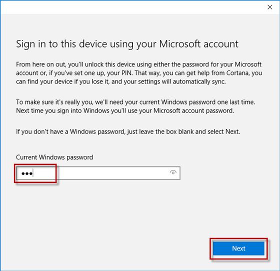 Enter current windows password