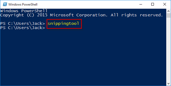 Run snippingtool in powershell