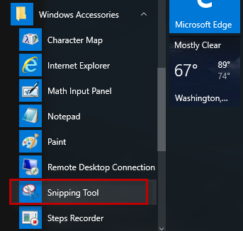 Snipping tool in All apps