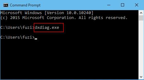 Escriba dxdiag en CMD