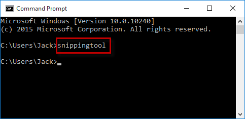 Type snippingtool in CMD