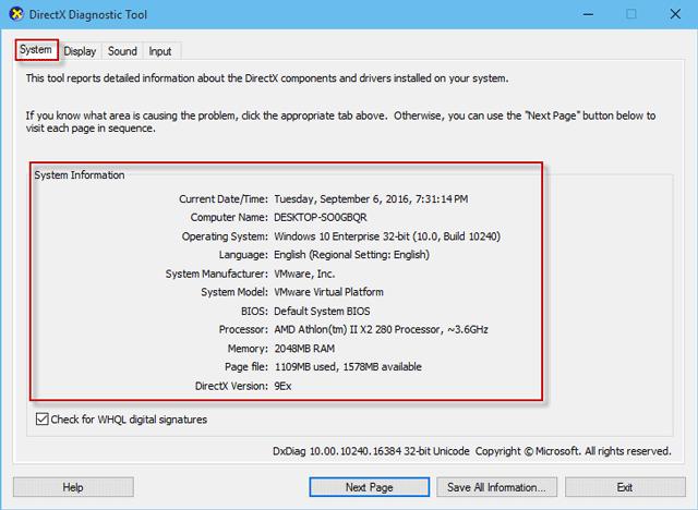 System Information under System tab