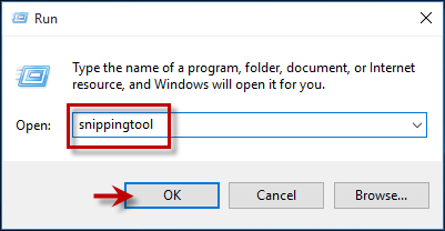 Type snippingtool in Run box