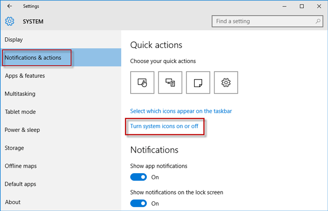 Click turn system icons on off