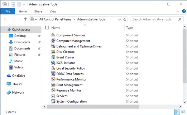 open Administrative Tools