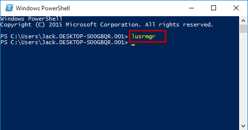 Run lusrmgr in Powershell