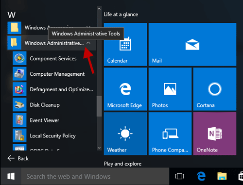 Show Administrative Tools in Start