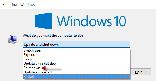 shut down windows dialog