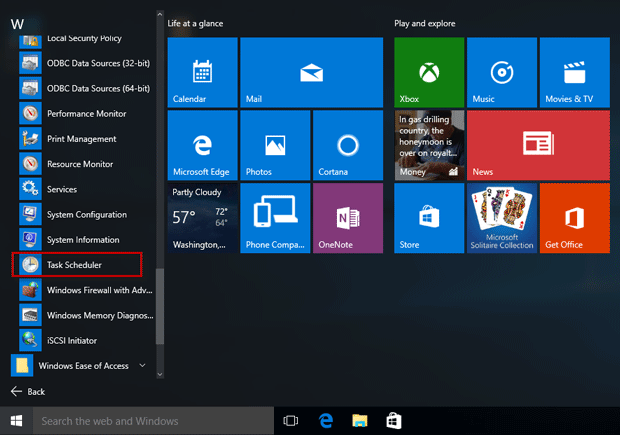 Task Scheduler in Start menu