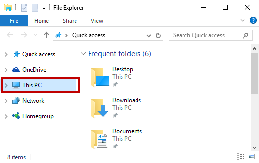 This PC in File Explorer