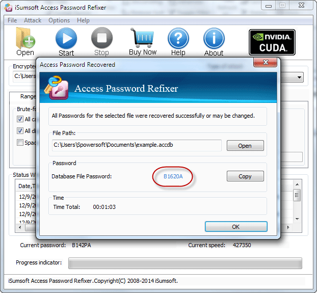 Access database password recovered