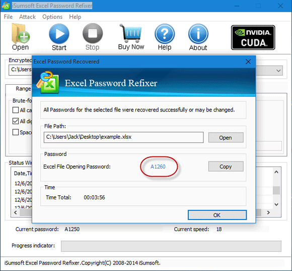 Recover password to open