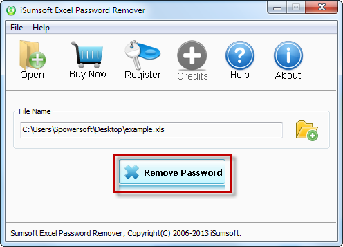 Remove password to open with the software