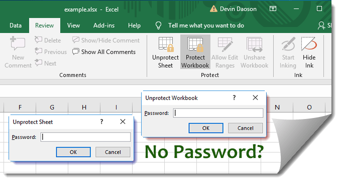remove excel sheet protection