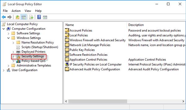 Select security settings