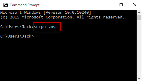 Run secpol in cmd