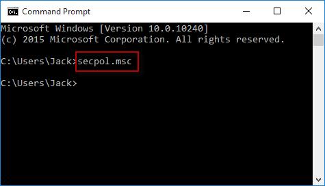Run secpol in cmd