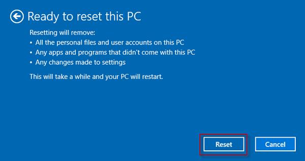 Click Reset