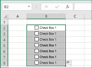 copy the checkbox to other cells