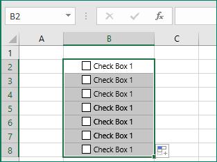 Copie la casilla de verificación en otras celdas
