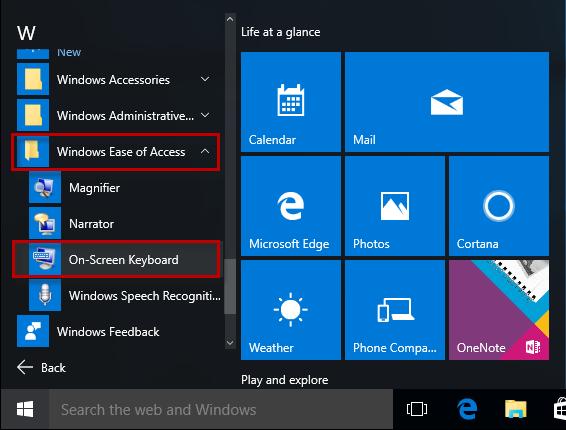 Find OSK from Start menu