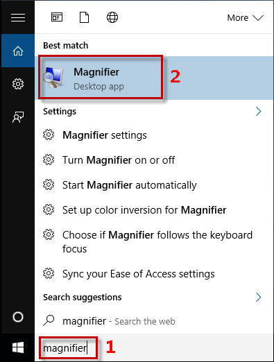 Type magnifier in Search box