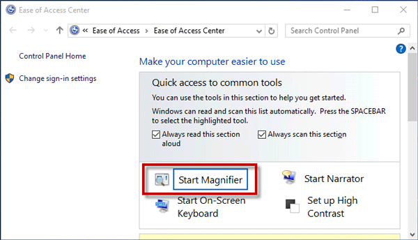 Click Start Magnifier