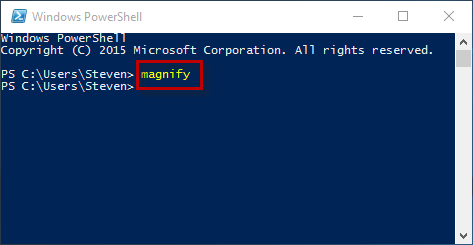 Type magnify in powershell
