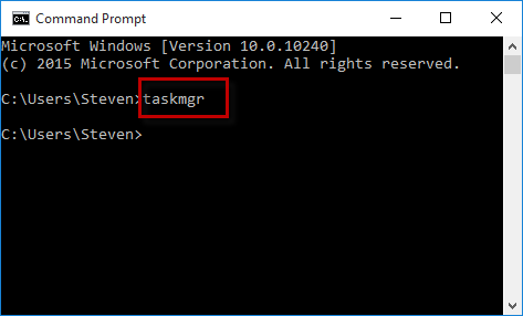 Type taskmgr in cmd
