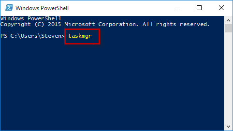 Type taskmgr in powershell