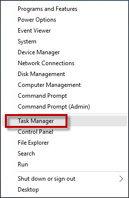 Select Task Manager from WinX menu