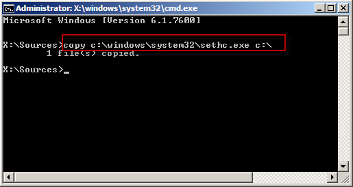 copy sethc.exe