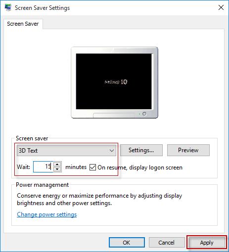 adjust screen saver settings