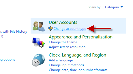 Click Change account type link
