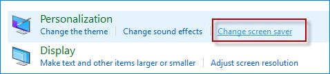 Click Change screen saver link
