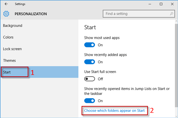 Click Choose whick folders appear on start