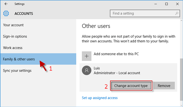 Click Change account type button