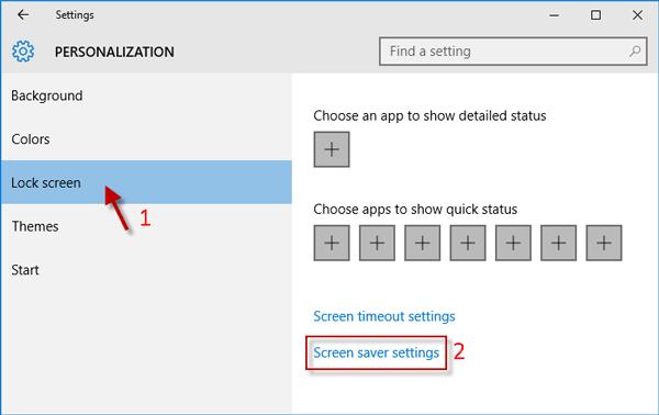 Click Screen saver settings