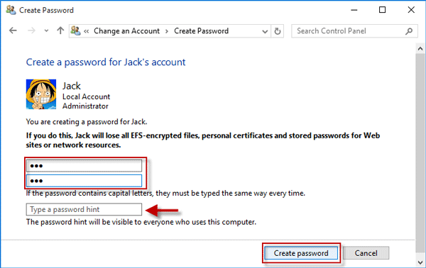 leave password field blank