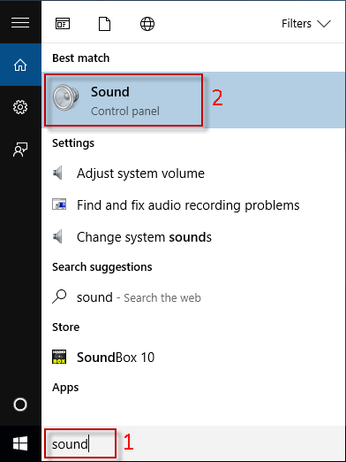 Type sound in Start menu