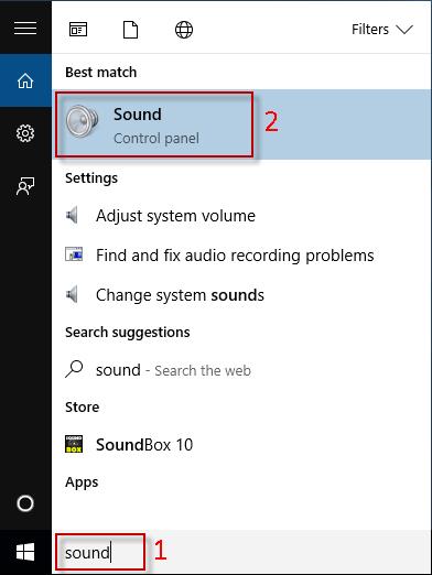 Type sound in Start menu