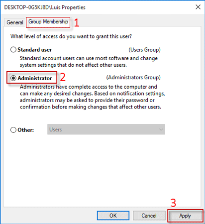Select Standard user or Administrator