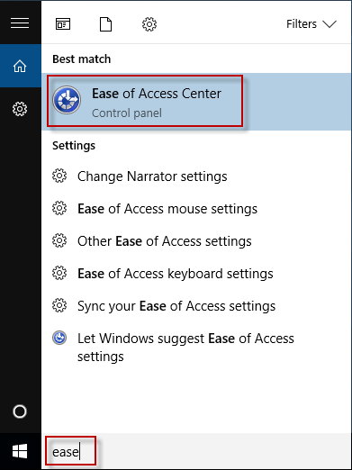 search ease of access