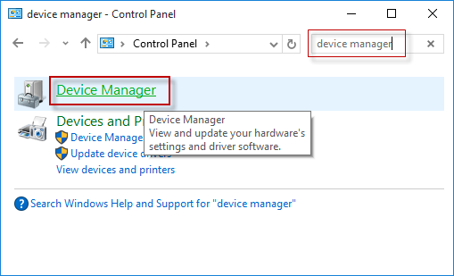 device manager in control panel