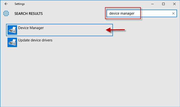 device manager in settings