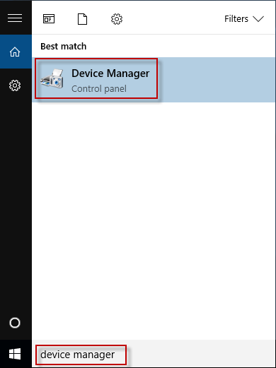 search device manager in cortana