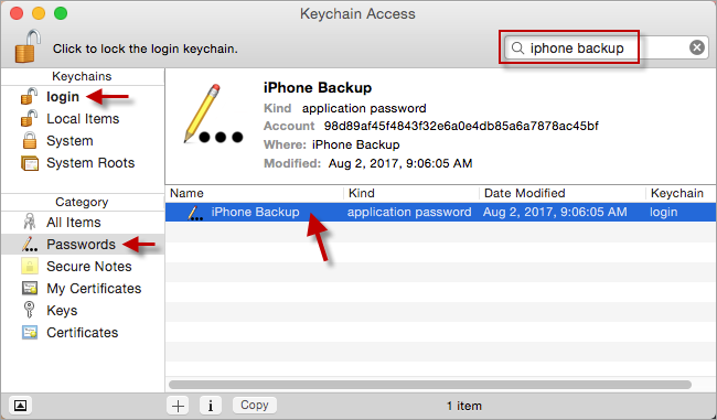 Find iPhone Backup in Keychain
